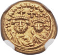 Ancients:Byzantine, Ancients: Heraclius, with Heraclius Constantine. 610-641. AVSolidus (11mm, 4.44 gm, 6h)....