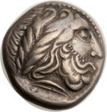 Ancients: EASTERN DANUBE. The Scordisci(?). Imitating Philip II. Ca. late 3rd century BC. AR tetradrachm (20mm, 12.63 gm...