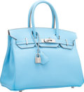 Luxury Accessories:Bags, Hermes Limited Edition Candy Collection 30cm Blue Celeste &Mykonos Epsom Leather Birkin Bag with Palladium Hardware. OSq...