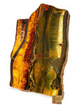 Lapidary Art:Carvings, Tiger's Eye Slab. Mt. Brockman Station. Pilbara.Western Australia. 9.80 x 7.12 x 0.53 inches (24.90 x18.10 x...