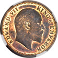 India:British India, India: British India. Edward VII Original Proof 1/4 Anna 1909 PR63 Red and Brown NGC,...