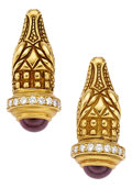 Estate Jewelry:Earrings, Diamond, Garnet, Gold Earrings, Kieselstein-Cord. ...