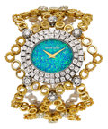 Estate Jewelry:Watches, Bueche Girord Lady's Opal, Diamond, Gold Watch. ...