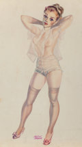 Pin-up and Glamour Art, Kelly Freas (American, 1922-2005). Soulful Pinup. Watercolorand pencil on paper. 20 x 14.375 in.. Signed lower center. ...
