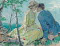 Mainstream Illustration, Thorton Utz (American, 1914-1999). Romantic Picnic, probableinterior illustration. Gouache on board. 16 x 20 in.. Signe...