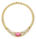 Estate Jewelry:Necklaces, Pink Tourmaline, Diamond, Mother-of-Pearl, Gold Necklace. ...