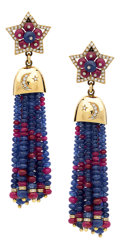 Estate Jewelry:Earrings, Sapphire, Ruby, Diamond, Gold Earrings. ...