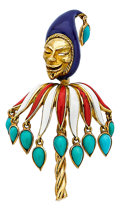 Estate Jewelry:Brooches - Pins, Turquoise, Enamel, Gold Brooch, Cartier, French. ...