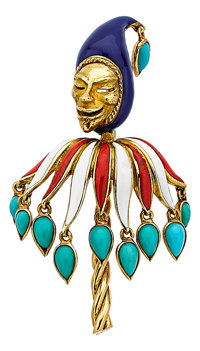 Turquoise, Enamel, Gold Brooch, Cartier, French