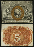 Fractional Currency:Second Issue, Fr. 1232SP 5¢ Second Issue Narrow Margin Pair Choice About New.. ... (Total: 2 notes)