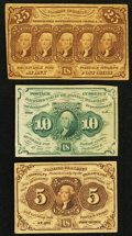 Fractional Currency:First Issue, First Issue 5¢; 10¢; and 25¢ Fractionals.. ... (Total: 3 notes)