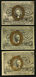 Fractional Currency:Second Issue, Second Issue 5¢; 10¢; and 25¢ Fractionals.. ... (Total: 3 notes)