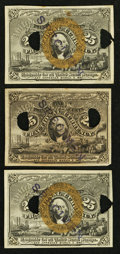 Fractional Currency:Second Issue, 25¢ Second Issue Experimentals.. ... (Total: 3 notes)