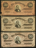Confederate Notes:1864 Issues, T66 $50 1864, Three Examples.. ... (Total: 3 notes)
