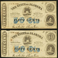Obsoletes By State:Alabama, Montgomery, AL-State of Alabama 50¢ Jan. 1, 1863 Cr. 4, Two Examples. ... (Total: 2 notes)