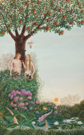 Mainstream Illustration, Gervasio Gallardo (American, b. 1934). Garden of Eden. Oilon canvas laid on panel. 24.5 x 15.5 in.. Not signed. ...