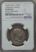 Italy:Lombardy  - Venetia, Italy: Lombardy-Venetia. Franz I of Austria 1/2 Scudo 1824-M VFDetails (Mount Removed) NGC,...