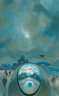 Pulp, Pulp-like, Digests, and Paperback Art, Paul Lehr (American, 1930-1998). Eye Spaceship, probablepaperback cover. Oil on board. 19 x 11 in.. Not signed. ...