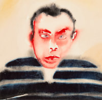 Francesco Clemente (b. 1952) Self Portrait, circa 1982 Watercolor on paper 12-5/8 x 12-5/8 inches