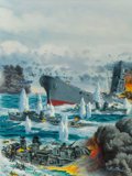 Pulp, Pulp-like, Digests, and Paperback Art, Mort Künstler (American, b. 1931). The Sinking of Yamato, Stagmagazine cover, November 1964. Gouache on board. 19.25 x ...