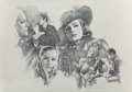 "Pin-up and Glamour Art, Jose ""Pepe"" Gonzalez (Spanish, 1939-2009). Greta GarboMontage, 2004. Pencil on paper. 27.5 x 39.25 in. (sheet).Signed ..."