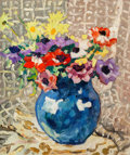 Impressionism & Modernism:Fauvism, Louis Valtat (1869-1952). Anémones et marguerites au vasebleu, 1933. Oil on canvas. 21-3/4 x 18-1/8 inches (55.1 x 46c...