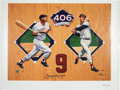 Baseball Collectibles:Others, 1990's Ted Williams Signed Oversized Triple Crown Giclee Canvaswith Inscription - 92/139. ...