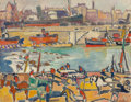 Impressionism & Modernism:Fauvism, Louis Valtat (1869-1952). Scene de port, 1923. Oil oncanvas. 10-1/2 x 13-1/2 inches (26.7 x 34.3 cm). Signed lowerrigh...