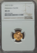 Commemorative Gold, 1915-S G$1 Panama-Pacific Gold Dollar MS65 NGC. NGC Census:(761/613). PCGS Population (1239/846). Mintage: 15,000. Numisme...