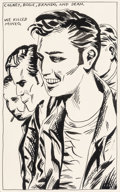 Fine Art - Work on Paper:Drawing, Raymond Pettibon (b. 1957). Cagney, Bogie, Brando, and Dean (WeKilled Mineo), 1986. Ink on paper. 12 x 9 inches (30.5 x...