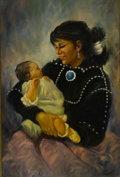 "American:Portrait & Genre, HAROLD ""HAL"" WATT (American 1925 - ). Untitled (Native AmericanMother And Child). Oil on board. 36 x 24in.. Signed ..."