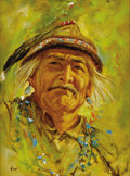 "American:Portrait & Genre, HAROLD ""HAL"" WATT (American 1925 - ). Untitled (Native AmericanMan). Oil on board. 16 x 11.75in.. Signed lower left. ..."