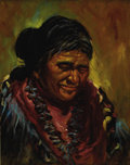 "American:Portrait & Genre, HAROLD ""HAL"" WATT (American 1925 - ). Untitled (Native AmericanWoman). Oil on board. 20 x 16in.. Signed lower left. ..."