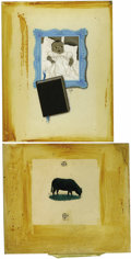 Illustration:Magazine, LORRAINE FOX (American 1922-1976). Infant With Book andGrazing Sheep (Two images). Mixed media on board. 13 x10.1i...