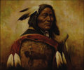 American:Portrait & Genre, TROY DENTON. Warrior Chief. Oil on canvas. 20 x 24in..Signed lower right. It is believed that the name Troy Denton is...