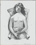 Prints:American, FLETCHER MARTIN (American 1904 - 1979). Girl in Chair. Lithograph.14.5 x 11.5in.. ...