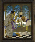 "Prints:American, MAXFIELD PARRISH (American 1870 - 1966). Cast of Characters in ""TheKnave of Hearts"" by Louise Saunders, Illustration by Max..."