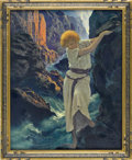 Prints:American, MAXFIELD PARRISH (American 1870 - 1966). The Canyon, 1924.Period print on paper (Reinthal & Newman, N.Y.). 11.5 x14.5i...