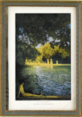 Prints:American, MAXFIELD PARRISH (American 1870 - 1966). The Pool Of The VillaD'este, 1915. Period print on paper. 5 x 7.75in. (approx....