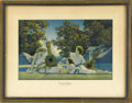 Prints:American, MAXFIELD PARRISH (American 1870 - 1966). The Lute Players,1924 (The House of Art, N.Y.). Period print on paper. 6.5 x 1...