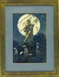 Prints:American, MAXFIELD PARRISH (American 1870 - 1966). A Departure,December, 1922. Illustration for the London News. Period print on...