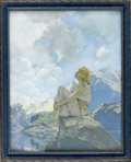 Prints:American, MAXFIELD PARRISH (American 1870 - 1966). Morning, 1922.Period print on paper (Reinthal & Newman, N.Y.). 15 x 12in.(ima...