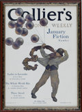 Prints:American, MAXFIELD PARRISH (American 1870 - 1966). Collier's Magazine CoverIllustration. The Balloon Man, December 26, 1908. Prin...
