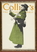 Prints:American, MAXFIELD PARRISH (American 1870 - 1966). Collier's Magazine CoverIllustration. The Botanist, July 18, 1908. Print on pa...
