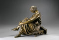 Bronze:European, JEAN-JACQUES PRADIER (French 1790 - 1852). Woman with Lyre.13.5 x 17in.. Bronze. Base inscribed with cast: J.Pradier...