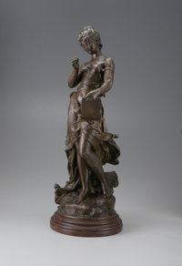 HYPPOLYTE FRANCOIS MOREAU (French 1832 - 1927) Woman with Tableau, 18th Century 27 x 10.6in. Bronze patinated spelter