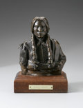 Bronze:American, JUAN DELL (American 1933 - ). Quanah Parker. Bronze on woodpedestal. 6.75 x 5.5 x 3.25in.. Numbered: 14/30. Signe...