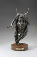 Bronze:American, DR. ROBERT TAYLOR (American Late 20th). Spirit Of The Deer,1978. Bronze on wood base. Numbered: 2/10. 17 x 10.5 x 8...