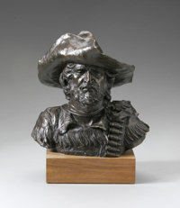 EDWARD JAMES FRAUGHTON (American 1939 - ) Buffalo Hunter, 1971 Bronze on wooden pedestal 9.4 x 8.25 x 6in. Numbere
