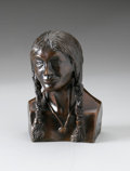Sculpture, JACK POINTEAU. Indian Bust, February, 1988. Bronze. 4.75 x 3 x 2.8in.. Numbered: 16/150. Signed and numbered to side...